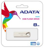 Adata UV210 8Gb USB2.0 flash drive , sandblasted zinc-alloy housing with integral strap hole for lanyard or keychain , advanced COB ( Chip-on-Board ) design with dust/shock/water resistant , 39x12.2x4.5mm , support Linux , Mac OS , support free OStoGO  UF