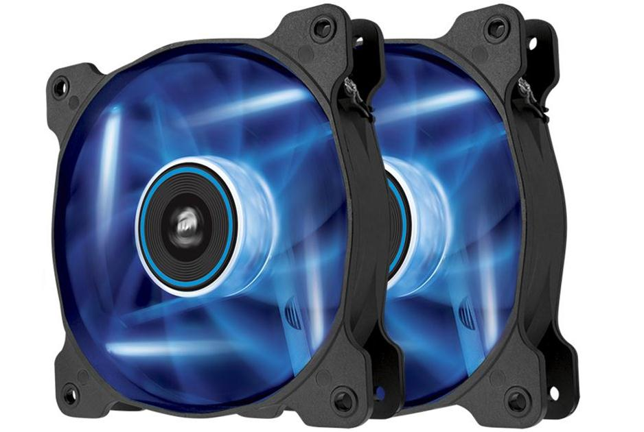 Corsair Co-9050016-BLED AF120 Quiet with bLue led x2 ( twin pack ) - 120x120x25mm , advanced hydraulic bearing , 9 blades , rubber corners for noise reduction , 1500rpm , 25.2dBA , 52.19CFM , 0.75 mm/H2o static pressure