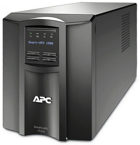 APC Smart-ups smt1500i  , with LCD graphics display , line interactive with AVRpower conditioning , 1500va / 1000w  8x power output , with monitoring software , usbserial interface , with smart slot