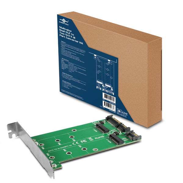Vantec ugt-M2ST220 - 2x nGff/M.2 ( upto 2280mm ) - 2x SATA converter kit - for 3.5/5.25 drive bay or card slots ( with bracket )