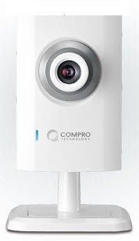 Compro TN80W cloud network camera ( iP camera ) , with C4Home Cloud App Service for tablet/ smart phone/ web browser , audio detection via dBA , 10/100 lan  802.11n wireless usb module , 1/3 VGA CMOS 720P sensor , 10x digital zoom , motion detection trigg